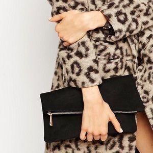NWOT ASOS square black clutch bag with slanted top